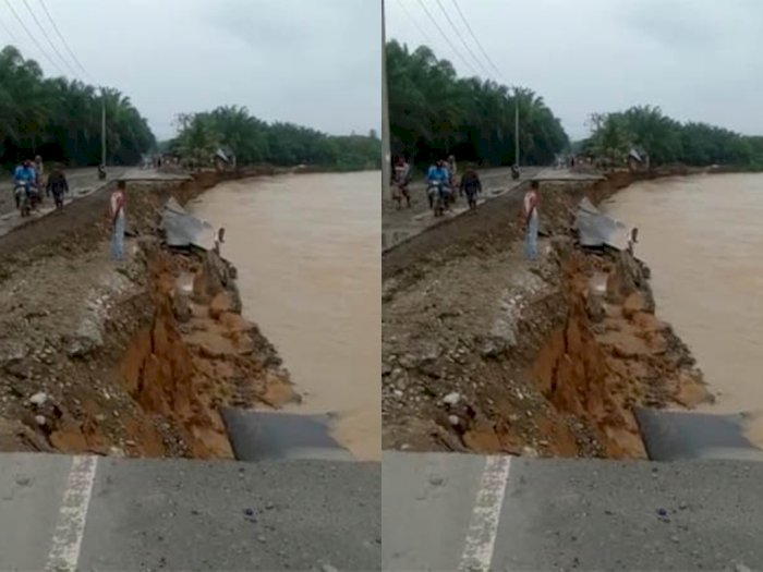 Aliran Sungai Batang Serangan Banjir Jalan Menuju Kawasan Wisata Tangkahan Terputus Sumut Indozone Id